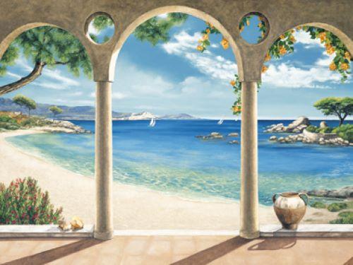 dominguez mediterranean bay meer fertig bild 60x80 wandbild mediterran. Black Bedroom Furniture Sets. Home Design Ideas
