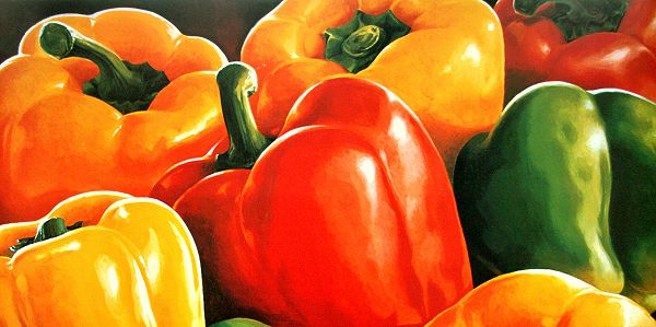 Mottinelli: Peperoni Paprika Küche Fertig-Bild 50x100 Wandbild ...
