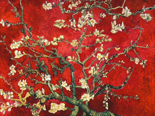 vincent van gogh mandorlo in fiore rot keilrahmen bild leinwand mandelbl te ebay. Black Bedroom Furniture Sets. Home Design Ideas